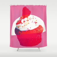 cupcake Shower Curtains featuring Cupcake by Mr & Mrs Quirynen