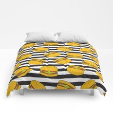 Burger Stripes By Everett Co Comforters