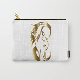 Gold Horse Head Drawing Carry-All Pouch
