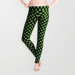 Black and Jasmine Green Polka Dots Leggings