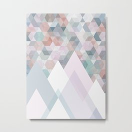 Pastel Graphic Winter Mountains on Geometry #abstractart Metal Print