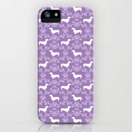 Dachshund purple florals pet portrait dog art dachsie doxie pet art dog breeds iPhone Case