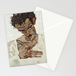 Egon Schiele - Self Portrait With Lowered Head Stationery Cards