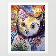 Lucy ... Abstract cat art Art Print