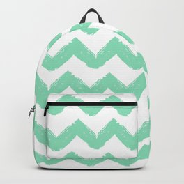 Hand-Drawn Chevron (Mint & White Pattern) Backpack