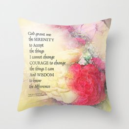Serenity Prayer Peonies and Roses Throw Pillow