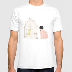 BEAR IS WATCHING US MEDIUM White Mens Fitted Tee
