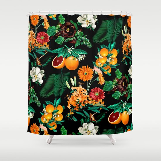 Fruit Pattern Kitchen Curtains: Fruit And Floral Pattern Shower Curtain By Burcu
