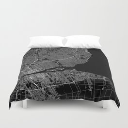 Detroit Black Map Duvet Cover