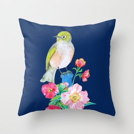 The Silvereye on Classic Blue Throw Pillow
