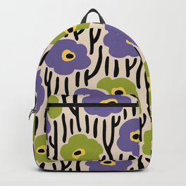 Mid Century Modern Wild Flowers Pattern Purple and Green Backpack