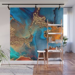 Luxurious Abstract Glitter Gold and Blue Paint Texture Wall Mural