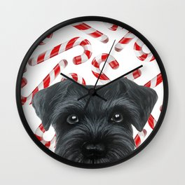 Winter limited edition. Black Schnauzer with Candy cane by miat Wall Clock