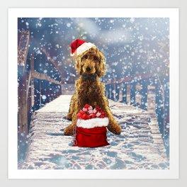 Christmas Golden Doodle Art Print