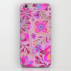 Bright Pink Floral iPhone & iPod Skin
