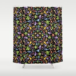 Terrific monsters posing for a colorful pattern design Shower Curtain
