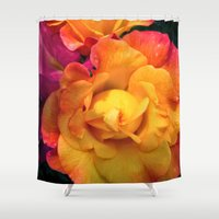 rio Shower Curtains featuring Rio Roses by Ruth Adams