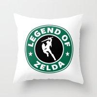 the legend of zelda Throw Pillows featuring Legend Of Zelda by Royal Bros Art