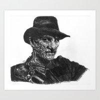 freddy krueger Art Prints featuring Freddy Krueger by Britzombiegirl