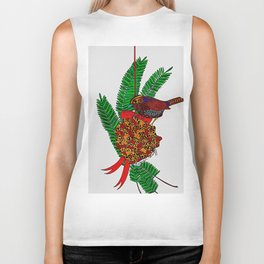 Little Bird In Evergreen Boughs Biker Tank