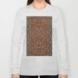 Flowery Boho Rug I // 17th Century Distressed Colorful Red Navy Blue Burlap Tan Ornate Accent Patter Long Sleeve T-shirt