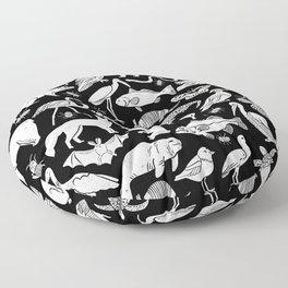 Linocut animals nature inspired printmaking black and white pattern nursery kids decor Floor Pillow