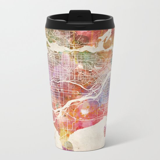 Vancouver map Metal Travel Mug