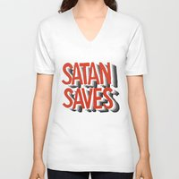 satan V-neck T-shirts featuring Satan Saves by Gabby Schulz