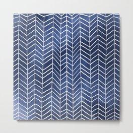 Navy Blue Watercolor Herringbone Pattern (navy blue/white) Metal Print