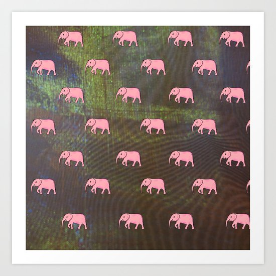 elephants on an abstract background 2 Art Print