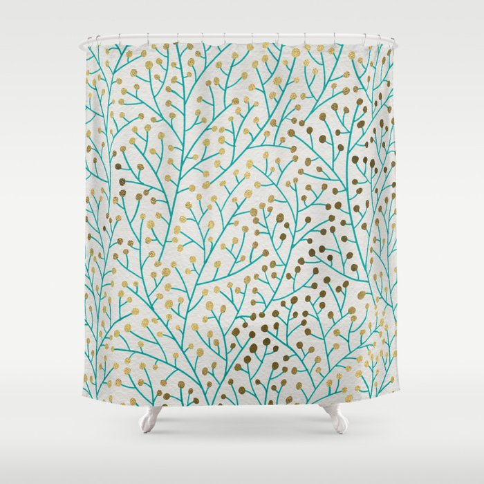 Berry Branches Turquoise Gold Shower Curtain By Catcoq