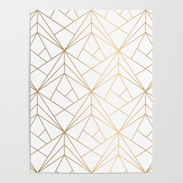 Geometric Gold Pattern With White Shimmer Poster