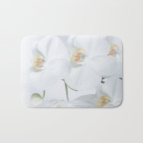 White orchids flowers pure white romantic Bath Mat