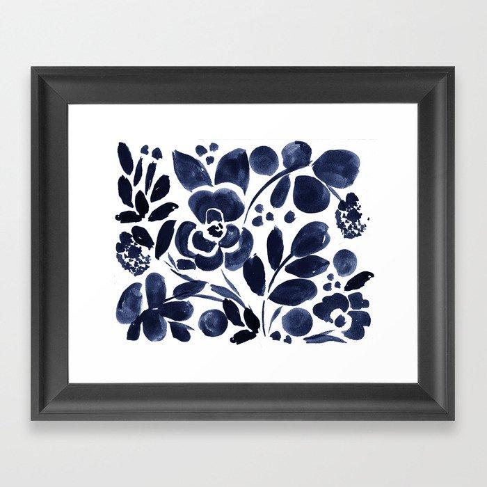 Navy Floral Gerahmter Kunstdruck