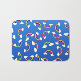 Cute and Colorful Rainbow Pattern on Blue Bath Mat