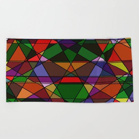 Stain Glass Mosaic Dark Beach Towel