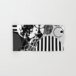 Black And White Choas - Mutli Patterned Multi Textured Abstract Hand & Bath Towel