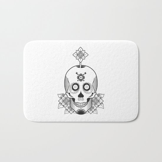 Skull and Flowers Bath Mat