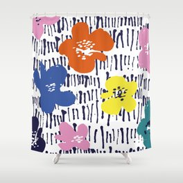 Bold Pen and Ink Floral Shower Curtain