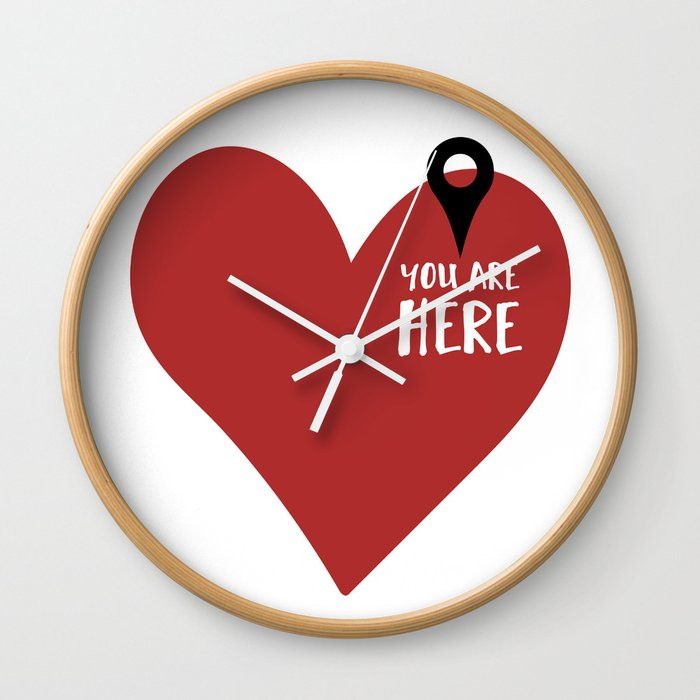 You Are Here In My Heart Love Valentines Day Quote Wall Clock By