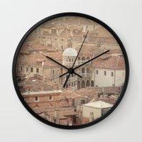 venice Wall Clocks featuring Venice by Yolanda Méndez
