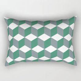 Diamond Repeating Pattern In Quetzal Green and Grey Rectangular Pillow