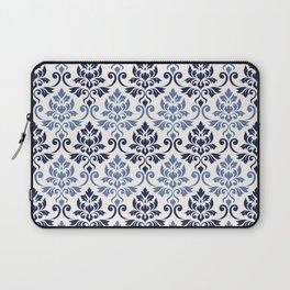 Feuille Damask Pattern Blues on Cream Laptop Sleeve