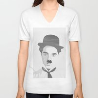 chaplin V-neck T-shirts featuring Chaplin by Beitebe