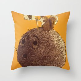 Conquering the biggest nut Throw Pillow