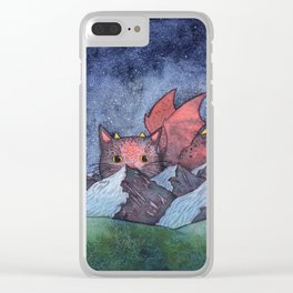 Dragon Cat Watercolor Clear iPhone Case