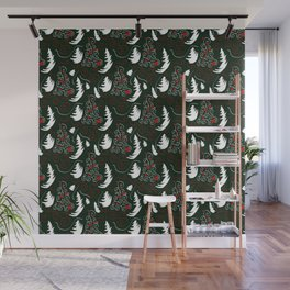 White Tree On Green Wall Mural