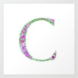 Floral Monogram Letter C Art Print