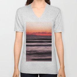 Sunset Purple Pink Beach Ocean Wave Seascape Scenic Colored Wall Art Lustre Print Unisex V-Neck