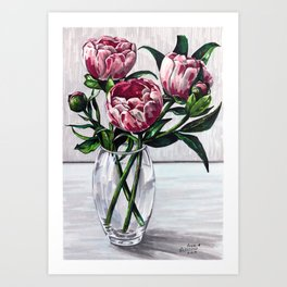 Peonies in a vase marers art Art Print